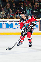 KELOWNA, CANADA - OCTOBER 25: Jesse Lees #2 of Kelowna Rockets skates with the puck against the Brandon Wheat Kings on October 25, 2014 at Prospera Place in Kelowna, British Columbia, Canada.  (Photo by Marissa Baecker/Shoot the Breeze)  *** Local Caption *** Jesse Lees;