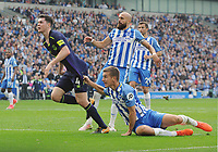 Football - 2017 / 2018 Premier League - Brighton & Hove Albion vs. Everton<br /> <br /> Michael Keane of Everton has his shirt pulled by Lewis Dunk  at The Amex.<br /> <br /> COLORSPORT/ANDREW COWIE