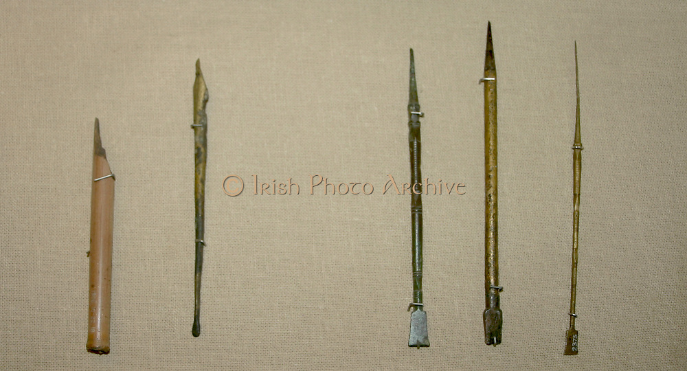 Left: Reed pen with a split nib from the Roman Era in Egypt circa 1st Century AD. On the right Styli (three stylus pens) used in the Roman Empire c2nd Century AD.