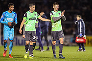 AFC Wimbledon midfielder Jack Rudoni (12) thanks fans and celebrates with team mates at full time during the EFL Sky Bet League 1 match between Bristol Rovers and AFC Wimbledon at the Memorial Stadium, Bristol, England on 26 December 2019.