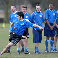 St Johnstone training..04.04.03   Paul Hartley has a shot at goal during training this morning, watched by team mates, from left, Peter MacDonald, Keigan Parker, Martyn Fotheringham, Manny Panther, Stuart Noble and Mark Ferry<br />