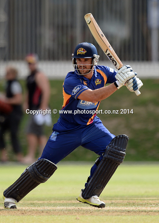Ryan ten Doeschate batting during the Ford Trophy 50 over One Day match between the Auckland Aces and Otago Volts at Eden Park Outer Oval, Auckland on Sunday 23 March 2014. Photo: Andrew Cornaga / www.Photosport.co.nz