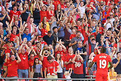 LONDON, ENGLAND - Saturday, August 6, 2016: Liverpool supporters celebrate as Sadio Mane scores the first goal against Barcelona during the International Champions Cup match at Wembley Stadium. (Pic by Xiaoxuan Lin/Propaganda)