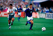 FIFA World Cup - USA 1994<br /> 26.6.1994, Soldier Field Stadium, Chicago, Illinois.<br /> Group D, Bulgaria v Greece.<br /> Alexandros Alexoudis (Greece) v Emil Kremenliev (Bulgaria).