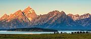 Sunrise on the Grand Teton Mountain Range in Grand Teton National Park