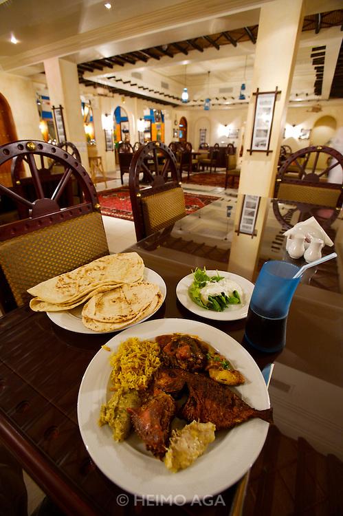Dinner buffet at a traditional Qatari restaurant at the Corniche.