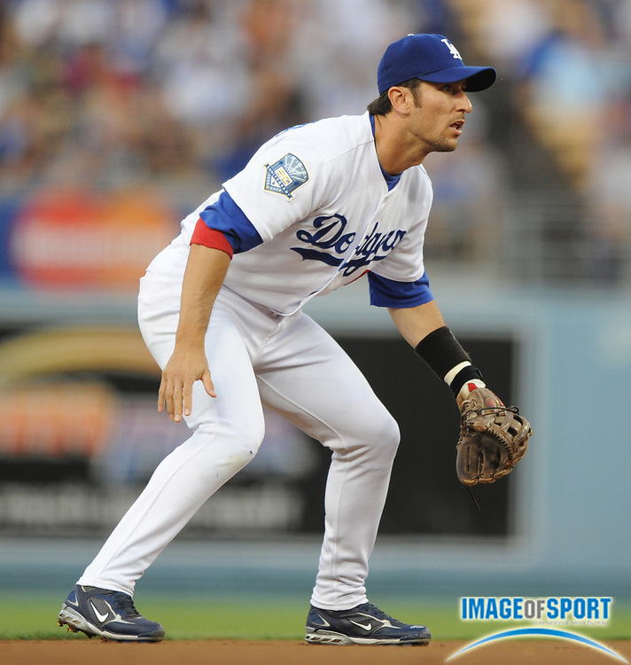 Jul 11, 2008; Los Angeles, CA, USA; Los Angeles Dodgers shortstop Nomar Garciaparra (5) during 3-1 loss to the Florida Marlins at Dodger Stadium.