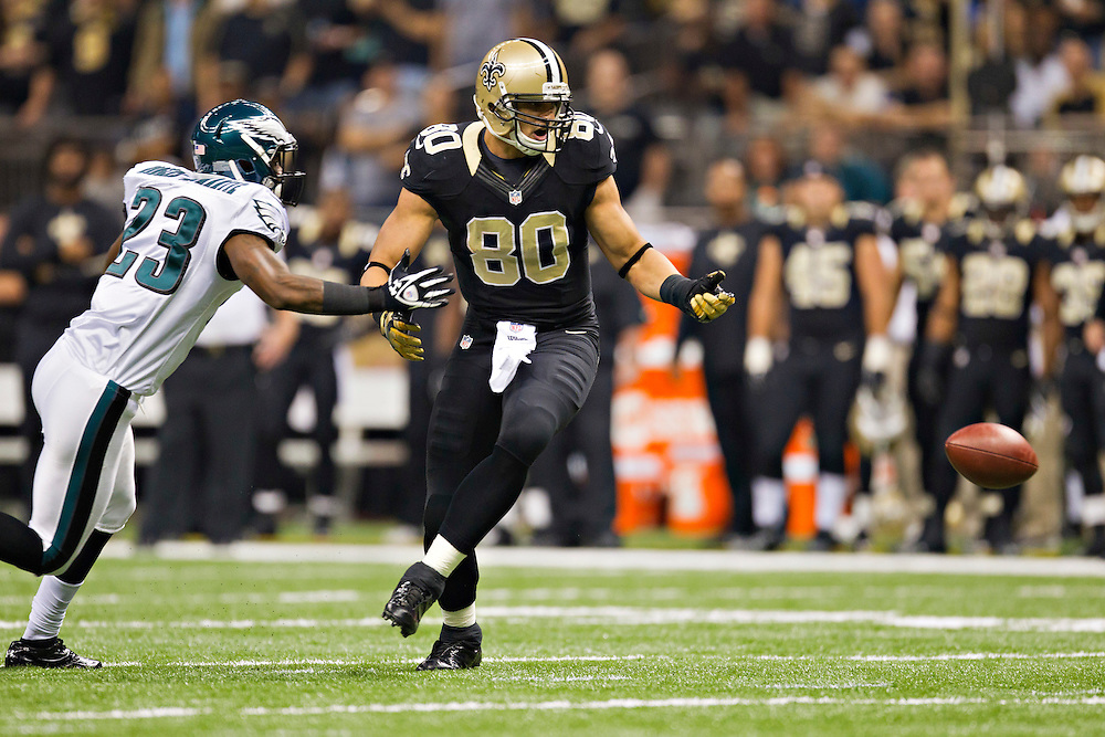 NEW ORLEANS, LA - NOVEMBER 5:  Jimmy Graham #80 of the New Orleans Saints misses a pass while being defended by Dominique Rodgers-Cromartie #23 of the Philadelphia Eagles at Mercedes-Benz Superdome on November 5, 2012 in New Orleans, Louisiana.  The Saints defeated the Eagles 28-13.  (Photo by Wesley Hitt/Getty Images) *** Local Caption *** Jimmy Graham; Dominique Rodgers-Cromartie