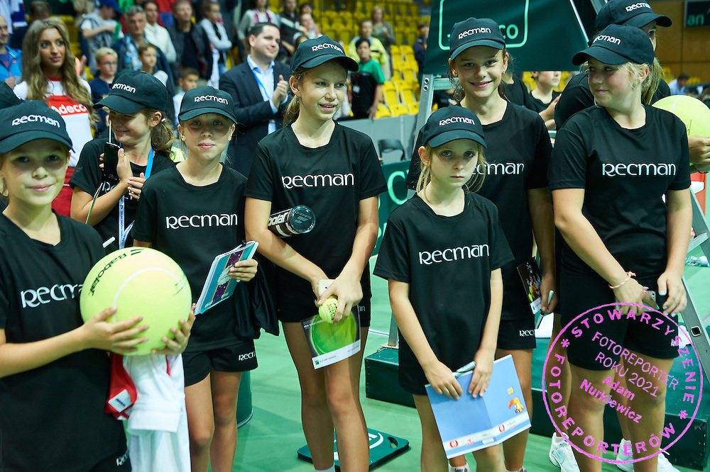 Ball kids during Davis Cup Tie World Group Play-off Poland v Slovakia at Gdynia Arena Hall in Gdynia, Poland.<br /> <br /> Poland, Gdynia, September 20, 2015<br /> <br /> Picture also available in RAW (NEF) or TIFF format on special request.<br /> <br /> For editorial use only. Any commercial or promotional use requires permission.<br /> <br /> Adam Nurkiewicz declares that he has no rights to the image of people at the photographs of his authorship.<br /> <br /> Mandatory credit:<br /> Photo by &copy; Adam Nurkiewicz / Mediasport