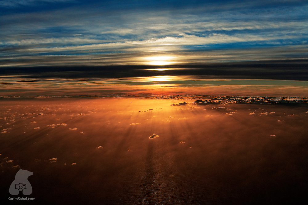 Aerial view of Taranaki at sunset, New Zealand.