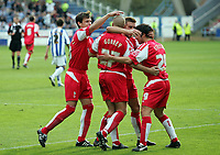 Photo: Paul Thomas.<br /> Huddersfield Town v Swindon Town. Coca Cola League 1. 29/10/2005. <br /> <br /> Swindon Town celebrate Andy Gurney's goal.
