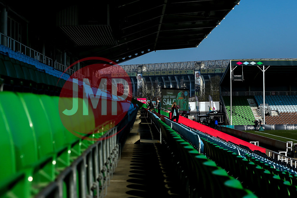A general view of Twickenham Stoop, home of Harlequins, overlooked by Twickenham Stadium - Mandatory by-line: Robbie Stephenson/JMP - 23/02/2019 - RUGBY - Twickenham Stoop - London, England - Harlequins v Bristol Bears - Gallagher Premiership Rugby