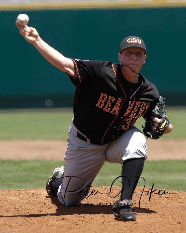 Oregon State starting pitcher Jonah Nickerson pitched seven innings and got the win against the Georgia Bulldogs.  Oregon State eliminated Georgia with a 5-3 win at the College World Series at Rosenblatt Stadium in Omaha, Nebraska, June 19, 2006.