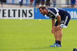 17.07.2013, Trainingsgelaende, Veltins Arena, GER, 1. FBL, FC Schalke 04 Training, im Bild Christian Fuchs ( Schalke 04/ Freisteller ) mit Spass beim Training. // during a Training Session of German Bundesliga Club Fc Schalke 04 at the Training Ground, Veltins Arena, Germany on 2013/07/17. EXPA Pictures © 2013, PhotoCredit: EXPA/ Eibner/ Thomas Thienel<br /> <br /> ***** ATTENTION - OUT OF GER *****