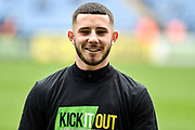 """Coventry City striker (on loan from Portsmouth) Conor Chaplin (10) wears a """"kick it out"""" T Shirt during the EFL Sky Bet League 1 match between Coventry City and Bristol Rovers at the Ricoh Arena, Coventry, England on 7 April 2019."""