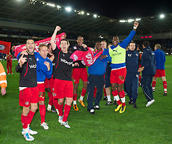 CARDIFF, WALES - Tuesday, May 17, 2011: Reading's players, led by Jobi McAnuff and Ian Harte celebrate after their side's 3-0 victory over Cardiff City during the Football League Championship Play-Off Semi-Final 2nd Leg match at the Cardiff City Stadium. (Photo by David Rawcliffe/Propaganda)