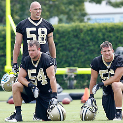 June 6, 2012; Metairie, LA, USA; New Orleans Saints linebackers Scott Shanle (58), Will Herring (54) and Chris Chamberlain (56) during a minicamp session at the team's practice facility. Mandatory Credit: Derick E. Hingle-US PRESSWIRE