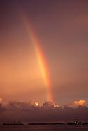 Rainbow in sunset sky, Majuro atoll, Marshall Islands
