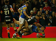 Ryan Hall of Leeds Rhinos scores the try against Castleford Tigers during the Betfred Super League match at Elland Road, Leeds<br /> Picture by Stephen Gaunt/Focus Images Ltd +447904 833202<br /> 23/03/201