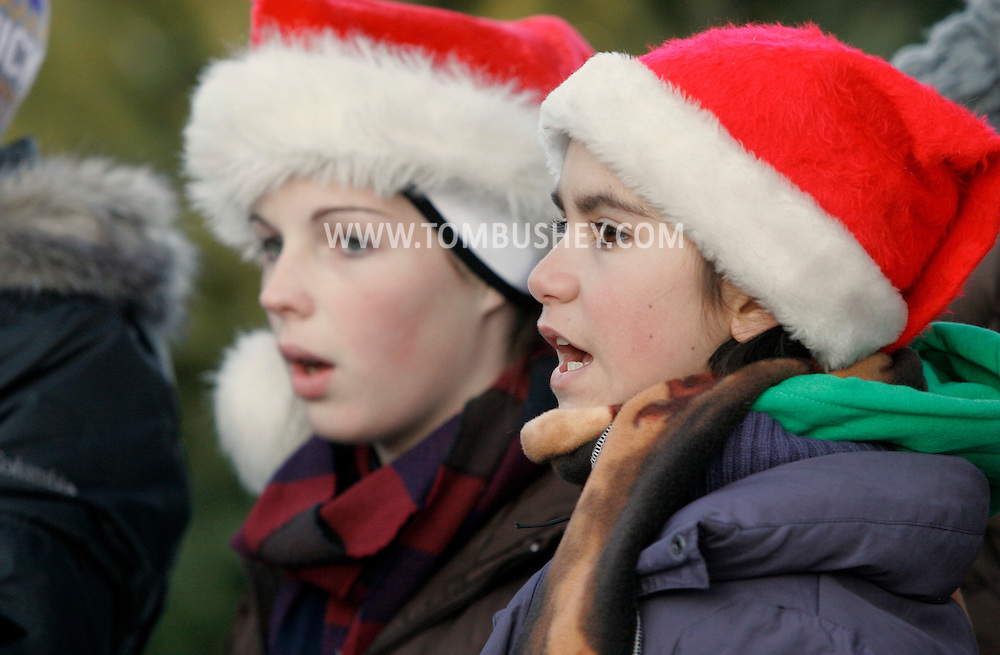 Sugar Loaf, NY - Members of the Warwick Middle School Choir sing Christmas songs in the crafts village of Sugar Loaf on Dec. 12, 2009.
