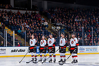 KELOWNA, CANADA - NOVEMBER 25: The Medicine Hat Tigers line up against the Kelowna Rockets on November 25, 2017 at Prospera Place in Kelowna, British Columbia, Canada.  (Photo by Marissa Baecker/Shoot the Breeze)  *** Local Caption ***