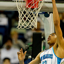 Jan 7, 2013; New Orleans, LA, USA; New Orleans Hornets power forward Anthony Davis (23) shoots against the San Antonio Spurs during the first quarter of a game at the New Orleans Arena. Mandatory Credit: Derick E. Hingle-USA TODAY Sports