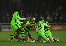 Alex Iacovitti of Forest Green Rovers celebrates his goal -Mandatory by-line: Nizaam Jones/JMP - 18/11/2017 - FOOTBALL - New Lawn Stadium - Nailsworth, England - Forest Green Rovers v Crewe Alexandre-Sky Bet League Two