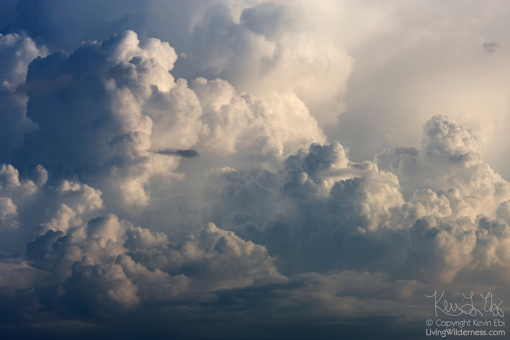 A towering cumulonimbus cloud forms over the Pacific Ocean near Sayulita, Mexico. Cumulonimbus clouds are known as clouds of vertical development, since their base and summit can be at dramatically different elevations.