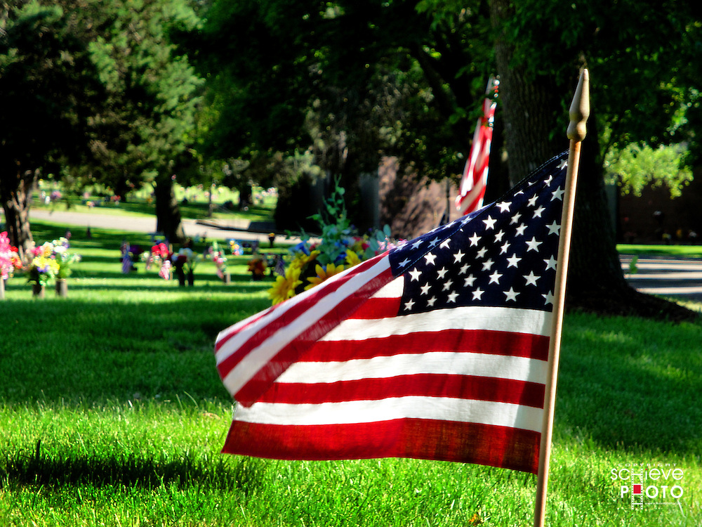 American flags decorate a Madison, Wisconsin cemetary on Memorial Day.