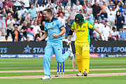 Wicket - Chris Woakes of England celebrates taking the wicket of David Warner of Australia with Ben Stokes of England during the ICC Cricket World Cup 2019 semi final match between Australia and England at Edgbaston, Birmingham, United Kingdom on 11 July 2019.
