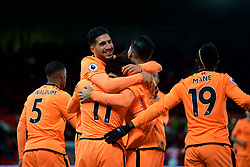 STOKE-ON-TRENT, ENGLAND - Wednesday, November 29, 2017: Liverpool's Mohamed Salah celebrates scoring the third goal with team-mates during the FA Premier League match between Stoke City and Liverpool at the  Bet365 Stadium. (Pic by David Rawcliffe/Propaganda)