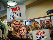 16 NOVEMBER 2019 - WAVERLY, IOWA: People cheer as they listen to Senator Elizabeth Warren (D-MA) speak at Wartburg College. Sen. Warren campaigned at Wartburg College in Waverly Saturday afternoon. She is running to be the Democratic candidate for the US Presidency in the 2020 election. Iowa hosts the first selection event of the presidential election season. The Iowa caucuses are February 3, 2020.          PHOTO BY JACK KURTZ