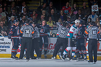 KELOWNA, CANADA - MARCH 24: Nolan Kneen #27 of the Kamloops Blazers stands at the boards as ice officials make penalty calls against the Kelowna Rockets on March 24, 2017 at Prospera Place in Kelowna, British Columbia, Canada.  (Photo by Marissa Baecker/Shoot the Breeze)  *** Local Caption ***