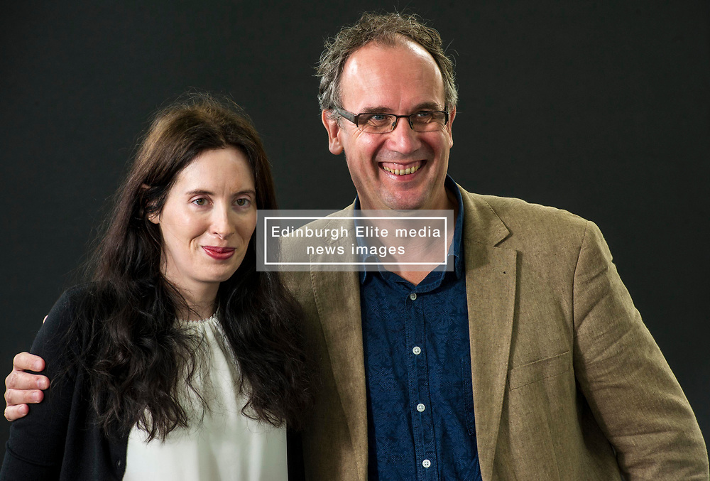 Pictured: Eva Dolan is an Essex-based copywriter and intermittently successful poker player and Volker Kutscher is a German journalist and writer <br /> Book fanatics headed to Charlotte Square in Edinburgh which is the hub of the international Book Festival to meet the authors and also to meet up with fellow fans of the printed word.<br /> <br /> <br /> Ger Harley | EEm 21 August 2017