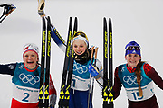 PYEONGCHANG-GUN, SOUTH KOREA - FEBRUARY 13: Maiken Caspersen Falla of Norway, Stina Nilsson of Sweden and Yulia Belorukova of Olympic Athletes of Russia during the Womens Individual Sprint Classic Finals on day four of the PyeongChang 2018 Winter Olympic Games at Alpensia Cross-Country Skiing Centre on February 13, 2018 in Pyeongchang-gun, South Korea. Photo by Nils Petter Nilsson/Ombrello               ***BETALBILD***