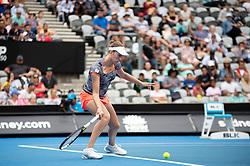 January 10, 2019 - Sydney, NSW, U.S. - SYDNEY, AUSTRALIA - JANUARY 10: Elise Mertens (BEL) hits a forehand at The Sydney International Tennis in the game between Ashleigh Barty (AUS) and Elise Mertens (BEL) on January 10, 2018, at Sydney Olympic Park Tennis Centre in Homebush, Australia. (Photo by Speed Media/Icon Sportswire) (Credit Image: © Steven Markham/Icon SMI via ZUMA Press)