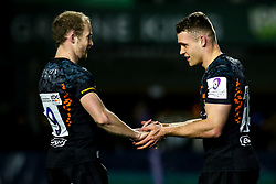 Jamie Shillcock of Worcester Warriors celebrates with teammate Michael Heaney of Worcester Warriors after scoring a try - Mandatory by-line: Robbie Stephenson/JMP - 17/01/2020 - RUGBY - Sixways Stadium - Worcester, England - Worcester Warriors v Castres Olympique - European Rugby Challenge Cup