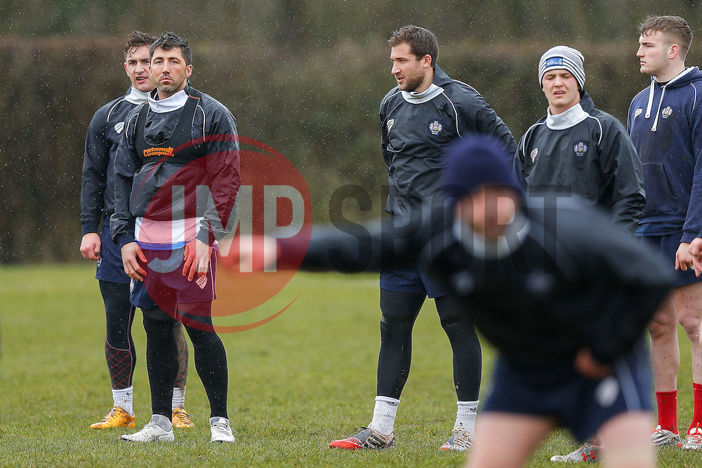 New Signing Gavin Henson of Bristol Rugby (2L) trains ahead of his First Team debut against Moseley on Sunday 15th February - Photo mandatory by-line: Rogan Thomson/JMP - 07966 386802 - 13/02/2015 - SPORT - RUGBY UNION - Bristol, England - Bristol Rugby Club Training Ground, Station Road, Henbury - Training Session.