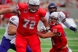 NORMAL, IL - October 06: Garrett Hirsch providing blocking for Spencer Schnell during a college football game between the ISU (Illinois State University) Redbirds and the Western Illinois Leathernecks on October 06 2018 at Hancock Stadium in Normal, IL. (Photo by Alan Look)