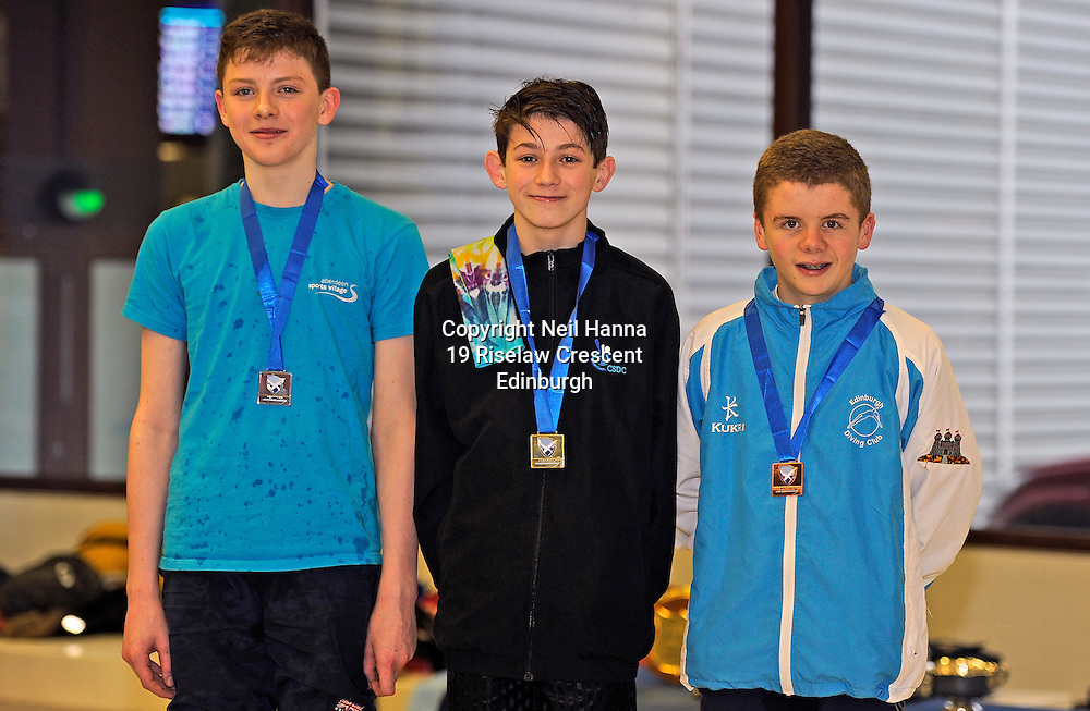 Scottish National Diving Championships & Thistle Trophy 2015<br /> Royal Commonwealth Pool, Edinburgh<br /> <br /> Boys 14-18 Final<br /> <br /> Farquhar MacDougall ASV , Warren Hackley of Corby Steel DC  and Ramsay McCall of Edinburgh DC<br /> <br />  Neil Hanna Photography<br /> www.neilhannaphotography.co.uk<br /> 07702 246823