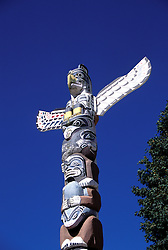 Canada: Vancouver. Totem pole in Stanley Park.  Photo #: cnvanc105..Photo copyright Lee Foster, 510/549-2202, lee@fostertravel.com, www.fostertravel.com