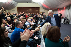 © Licensed to London News Pictures . 04/02/2017 . Liverpool, UK . JEREMY CORBYN arrives in the audience . Labour Party leader Jeremy Corbyn and Shadow Chancellor John McDonnell launch the party's first regional economic conference at the Devonshire House Hotel . Photo credit : Joel Goodman/LNP