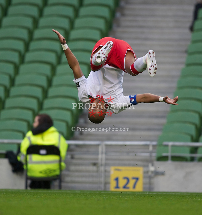 DUBLIN, REPUBLIC OF IRELAND - Wednesday, May 25, 2011: Wales' Robert Earnshaw celebrates scoring the first goal against Scotland during the Carling Nations Cup match at the Aviva Stadium (Lansdowne Road). (Photo by David Rawcliffe/Propaganda)