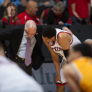 31 January 2017:  The San Diego State Aztecs men's basketball team hosts Wyoming Tuesday night at Viejas Arena. Coach Steve Fisher talks with guard Trey Kell (3) during a break in action in the second half. The Aztecs beat the Cowboys 77-68 at half time. www.sdsuaztecphotos.com