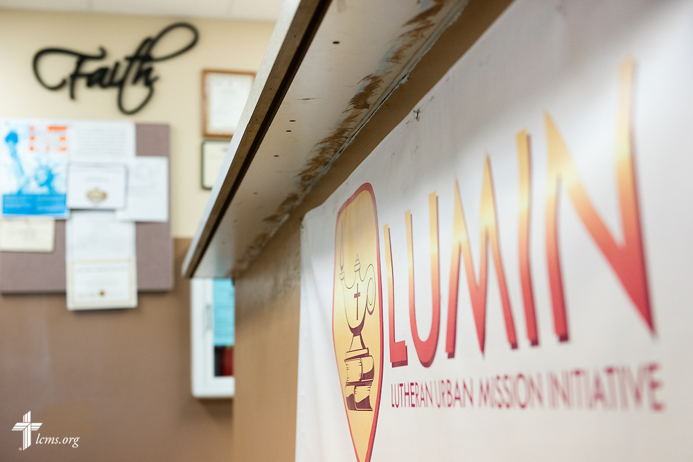The LUMIN sign greets visitors at the Renaissance School, part of Lutheran Urban Mission Initiative, Inc., on Wednesday, May 20, 2015, in Mt. Pleasant, Wis. LCMS Communications/Erik M. Lunsford