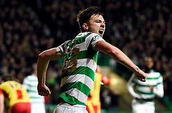 Celtic's Kieran Tierney celebrates after scoring the second goal during the Scottish Premiership match at Celtic Park, Glasgow.