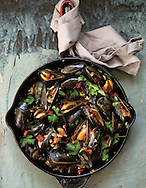 Beer braised mussels with chorizo for the grilling story in capital style. (Will Shilling/Capital Style)