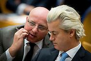 PVV fractievoorzitter Geert Wilders in de Tweede Kamer tijdens de eerste dag van de Algemene Beschouwingen in de Tweede Kamer.
