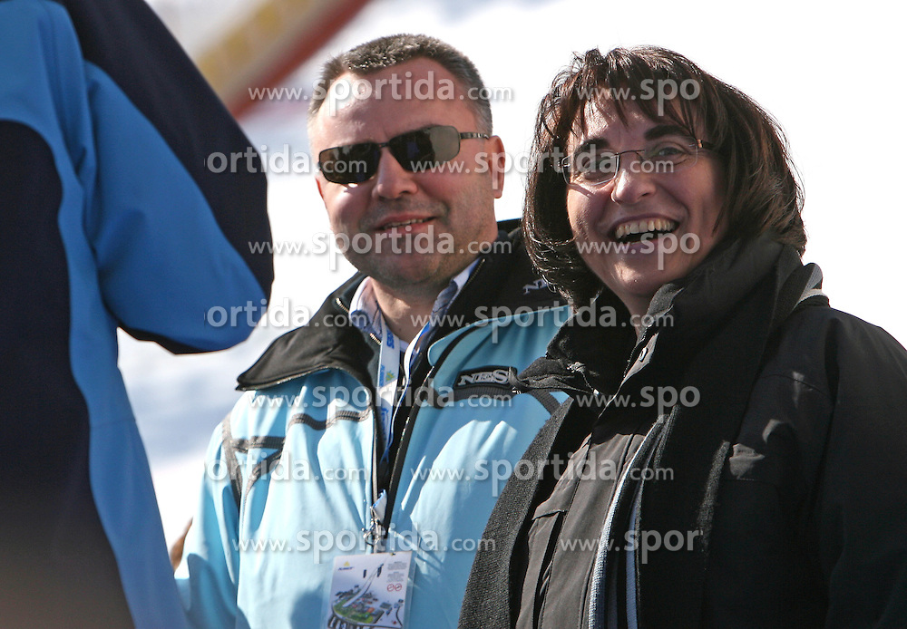 Andrej Kocic of Zavarovalnica Triglav and Minister of defense dr. Ljubica Jelusic at Flying Hill Team in 3rd day of 32nd World Cup Competition of FIS World Cup Ski Jumping Final in Planica, Slovenia, on March 21, 2009. (Photo by Vid Ponikvar / Sportida)