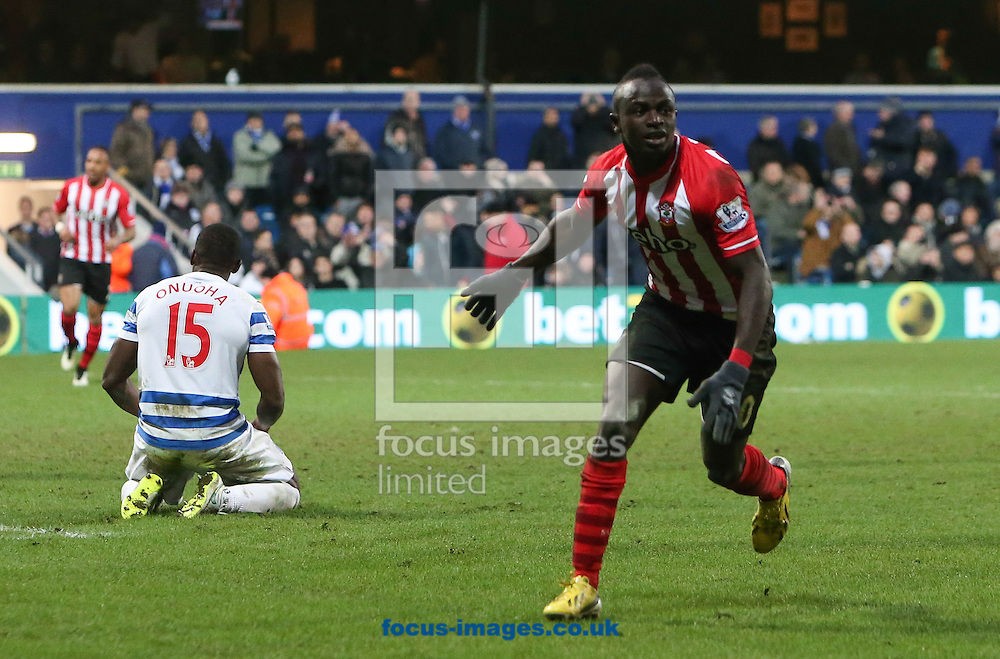 Nedum Onuoha of Queens Park Rangers is left on his knees as Sadio Mane of Southampton turns away after scoring the winner during the Barclays Premier League match at the Loftus Road Stadium, London<br /> Picture by John Rainford/Focus Images Ltd +44 7506 538356<br /> 07/02/2015